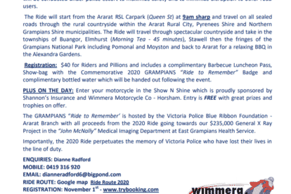 Grampians Ride to Remember Flyer