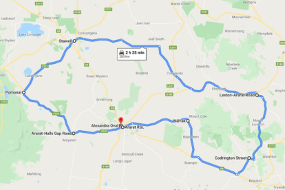 Grampians Ride to Remember Route Map